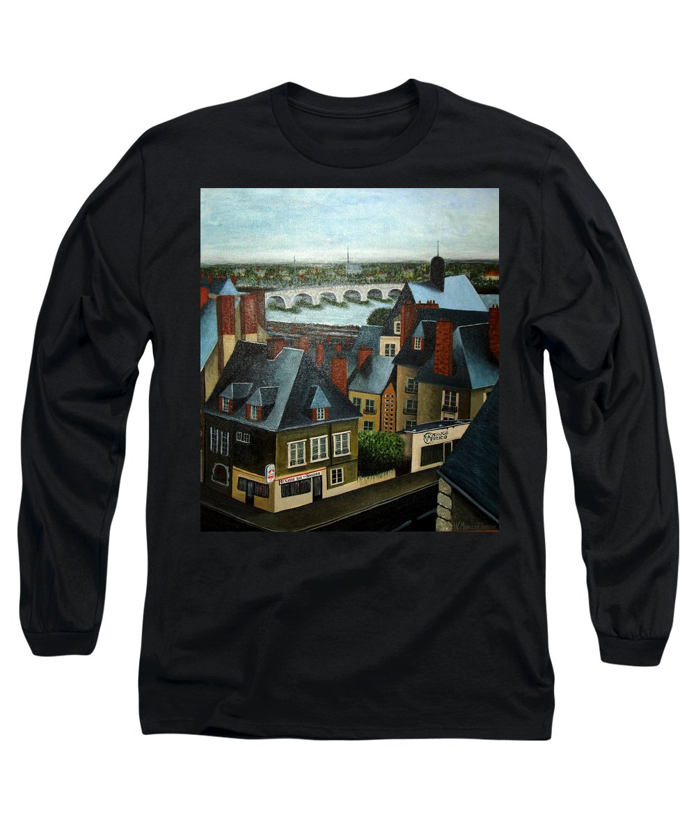Acrylic Long Sleeve T-Shirt featuring the painting Saint Lubin Bar In Lyon France by Nancy Mueller