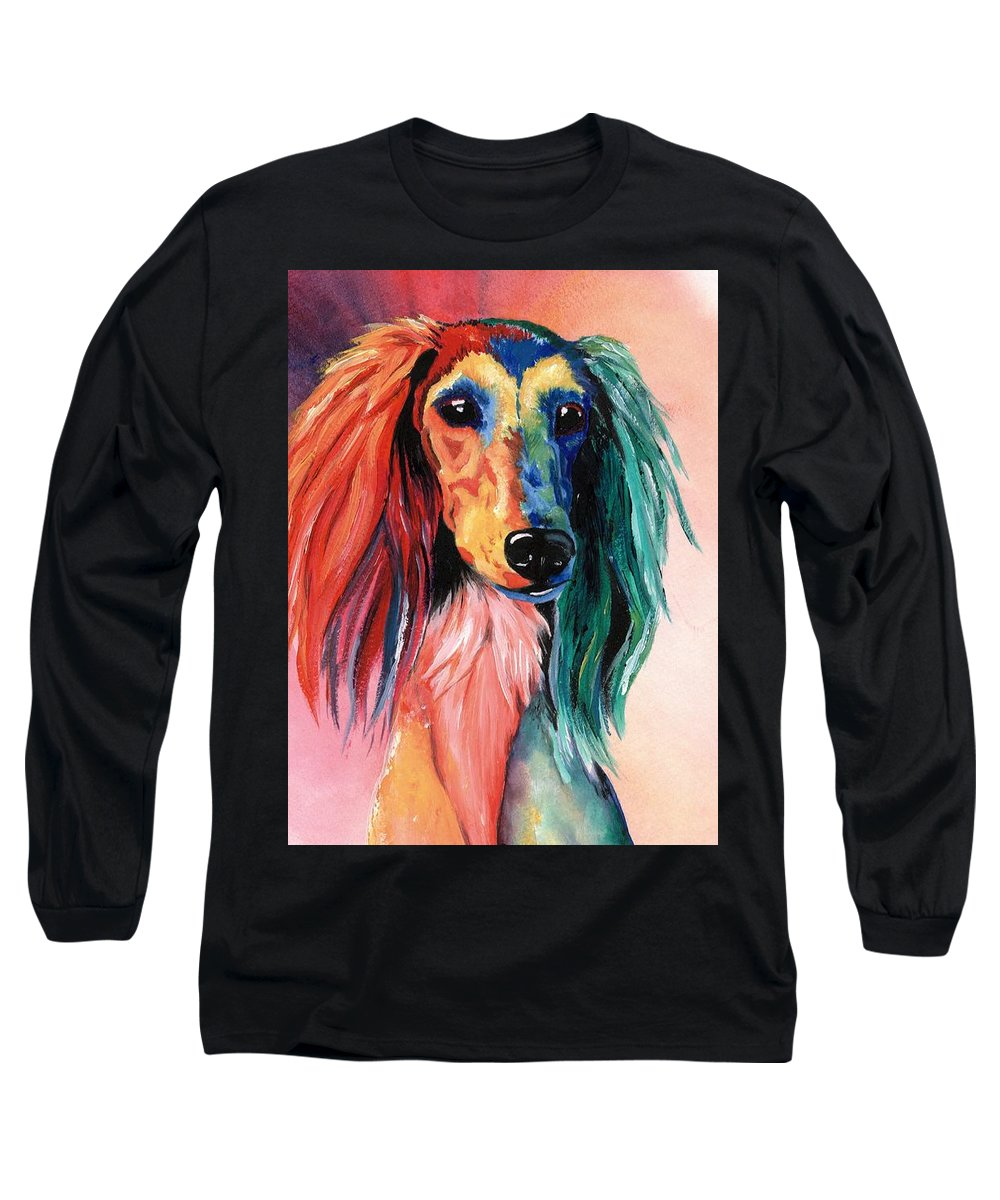 Saluki Long Sleeve T-Shirt featuring the painting Saluki Sunset by Kathleen Sepulveda