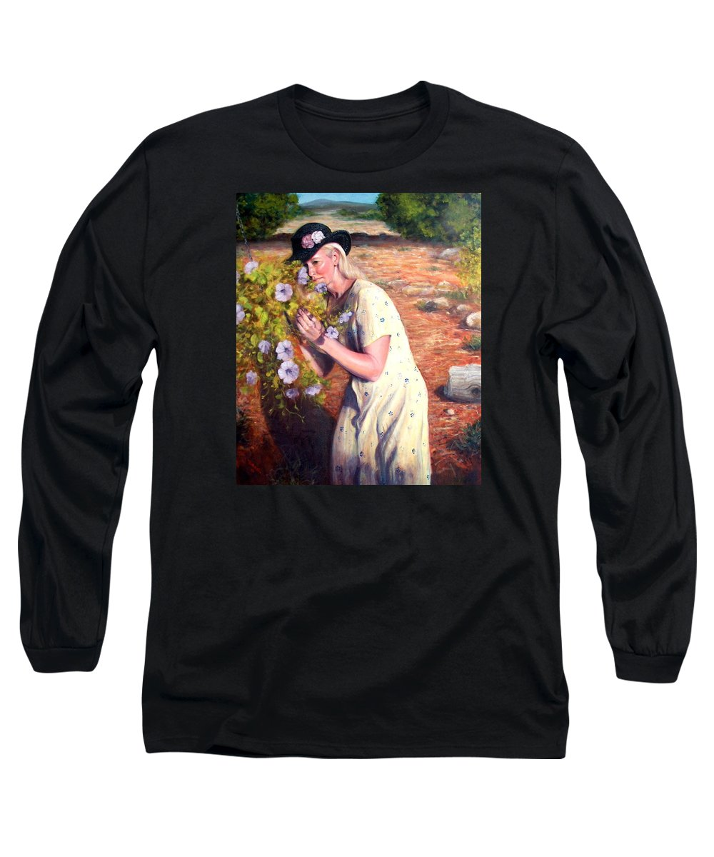 Realism Long Sleeve T-Shirt featuring the painting Santa Fe Garden 2  by Donelli DiMaria
