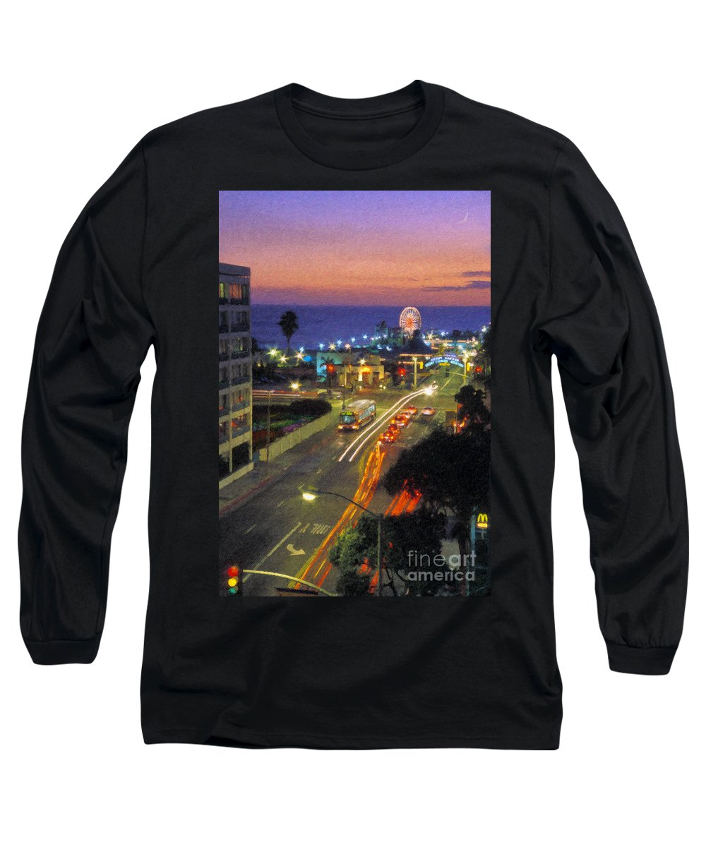 Santa Monica Ca Long Sleeve T-Shirt featuring the photograph Santa Monica Ca Pacific Park Pier Sunset by David Zanzinger