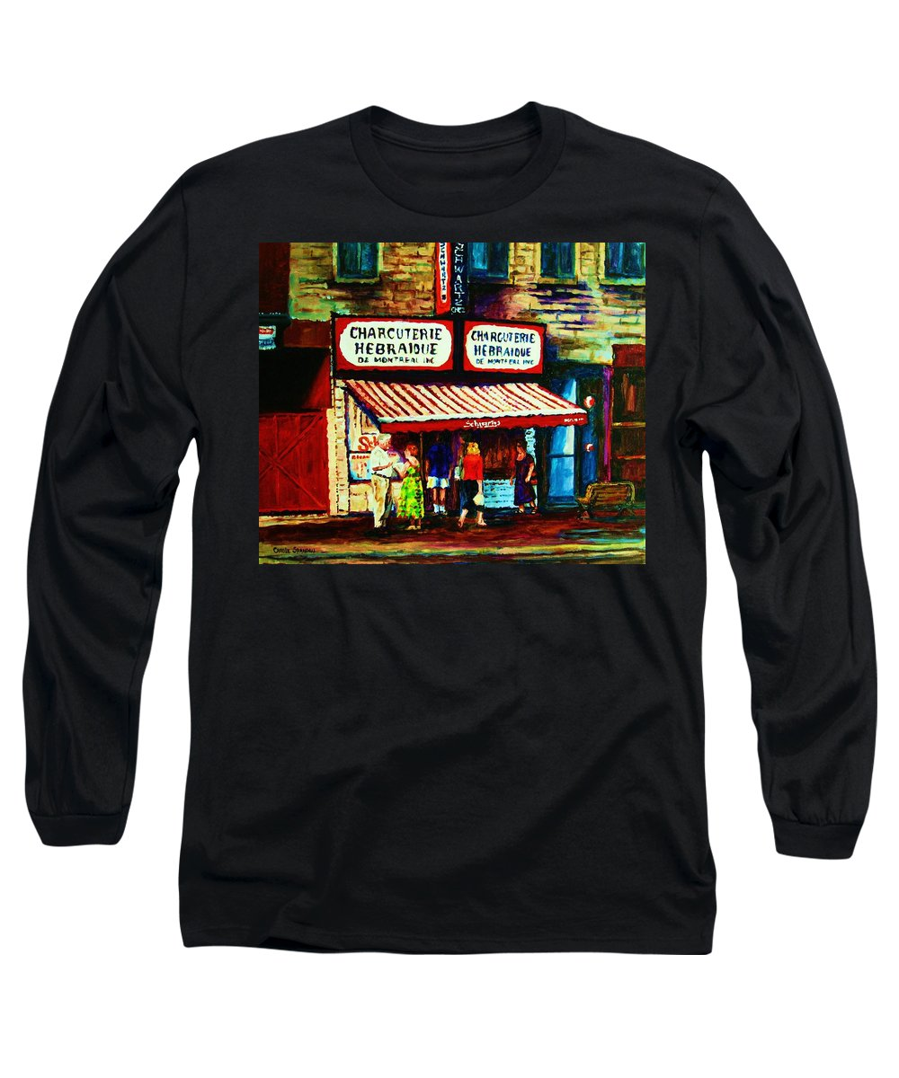 Schwartz Deli Long Sleeve T-Shirt featuring the painting Schwartzs Famous Smoked Meat by Carole Spandau