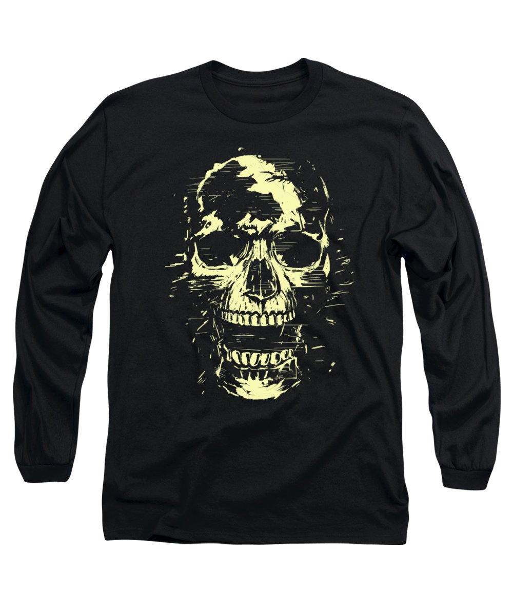 Skull Long Sleeve T-Shirt featuring the mixed media Scream by Balazs Solti