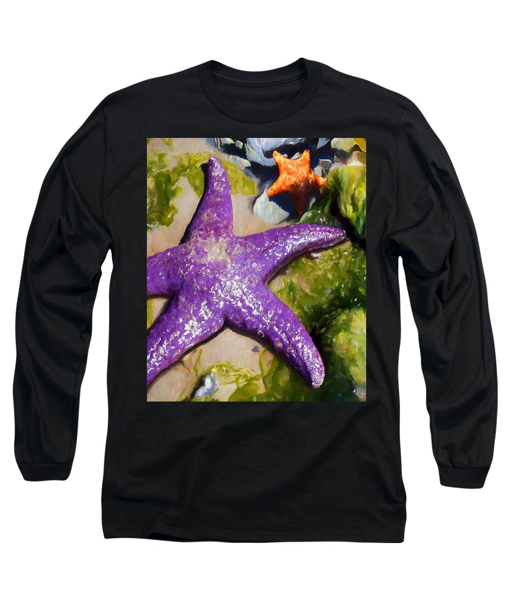 Sea Stars Long Sleeve T-Shirt featuring the painting Sea Stars by David Wagner