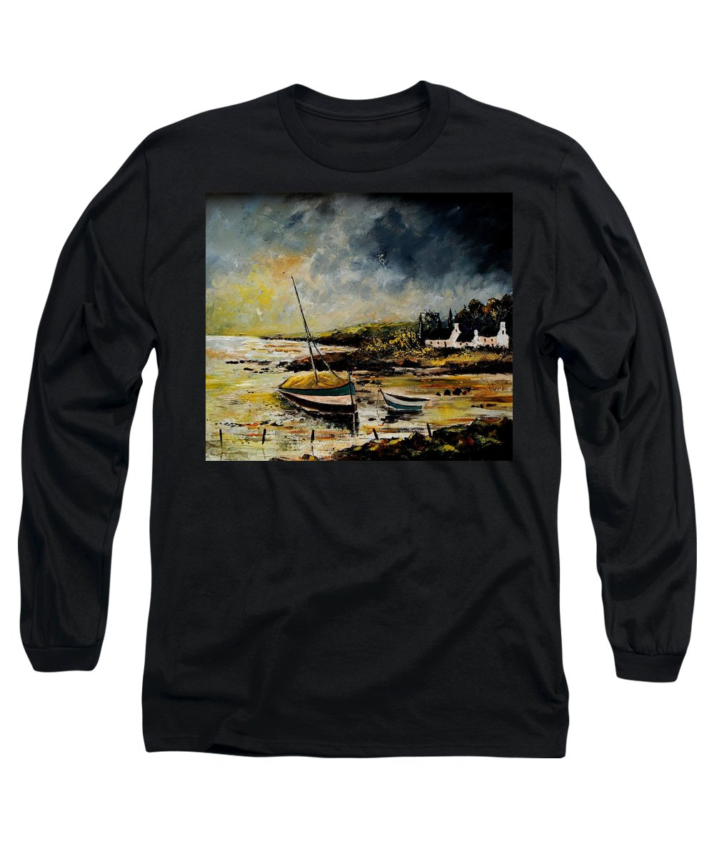 Sea Long Sleeve T-Shirt featuring the painting Seascape 452654 by Pol Ledent