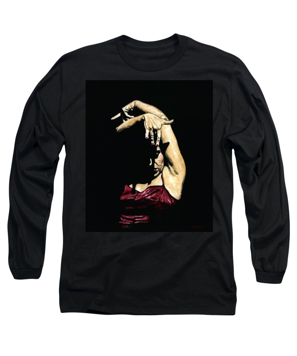 Flamenco Long Sleeve T-Shirt featuring the painting Seclusion Del Flamenco by Richard Young