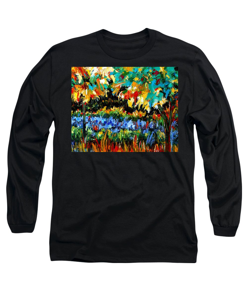 Landscape Long Sleeve T-Shirt featuring the painting Secret Garden by Debra Hurd