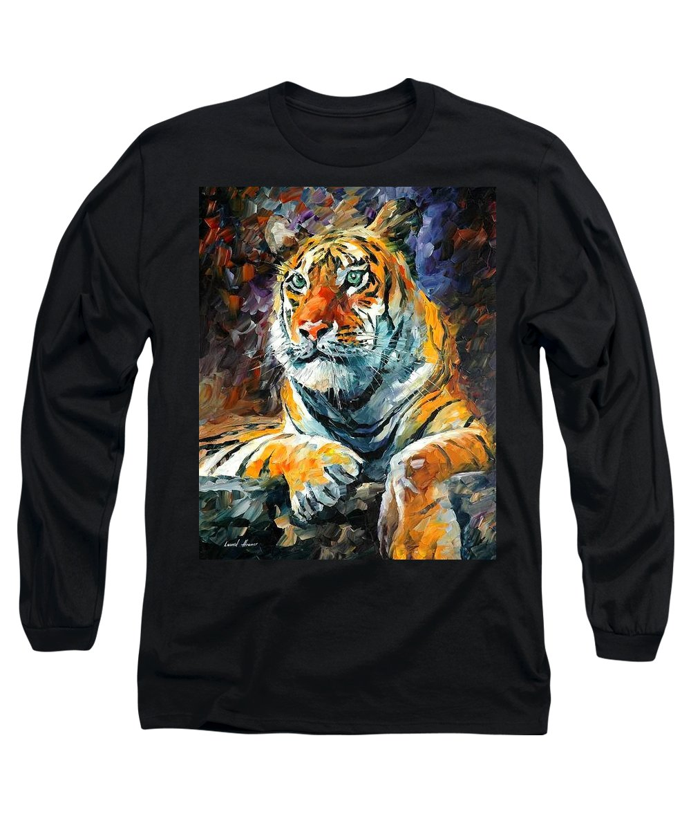 Painting Long Sleeve T-Shirt featuring the painting Seibirian Tiger by Leonid Afremov