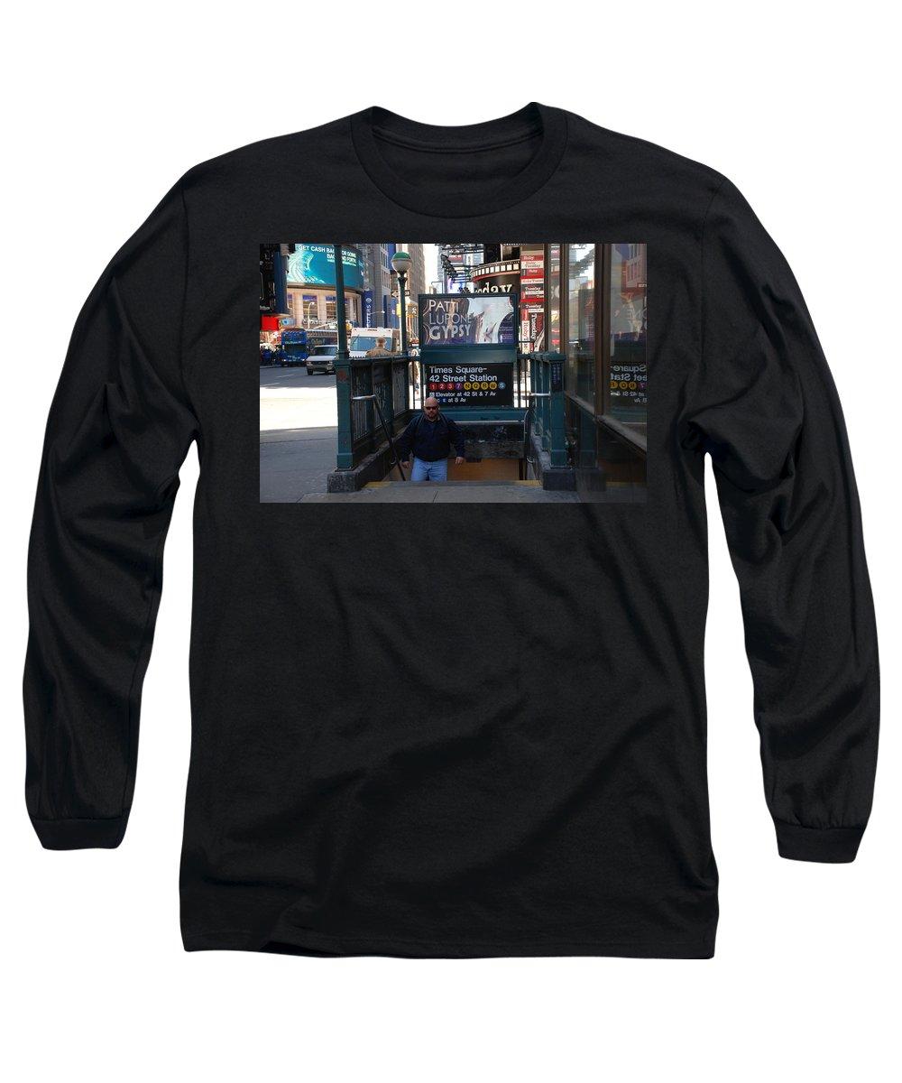 Subay Long Sleeve T-Shirt featuring the photograph Self At Subway Stairs by Rob Hans