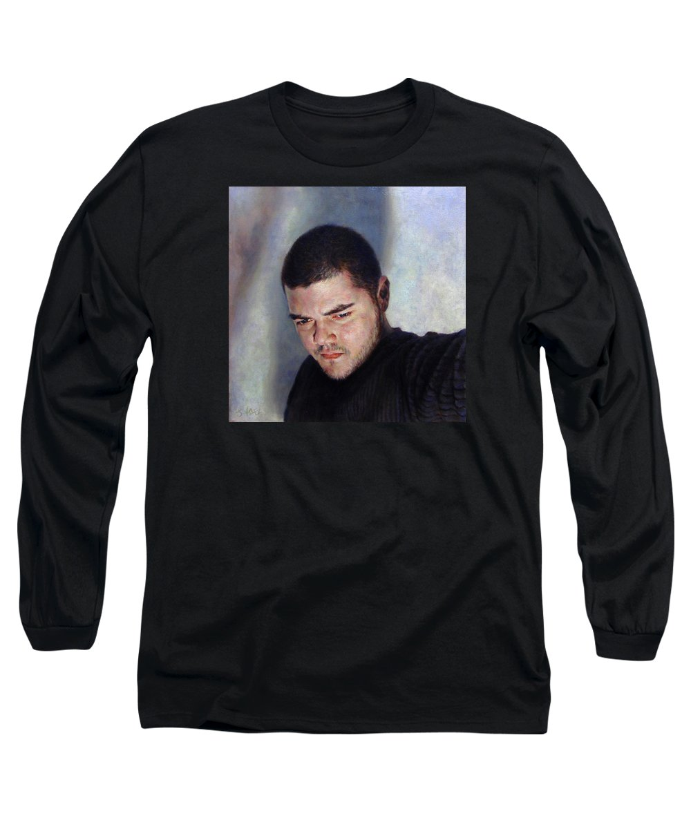 Self Long Sleeve T-Shirt featuring the painting Self Portrait W Shadows by Joe Velez