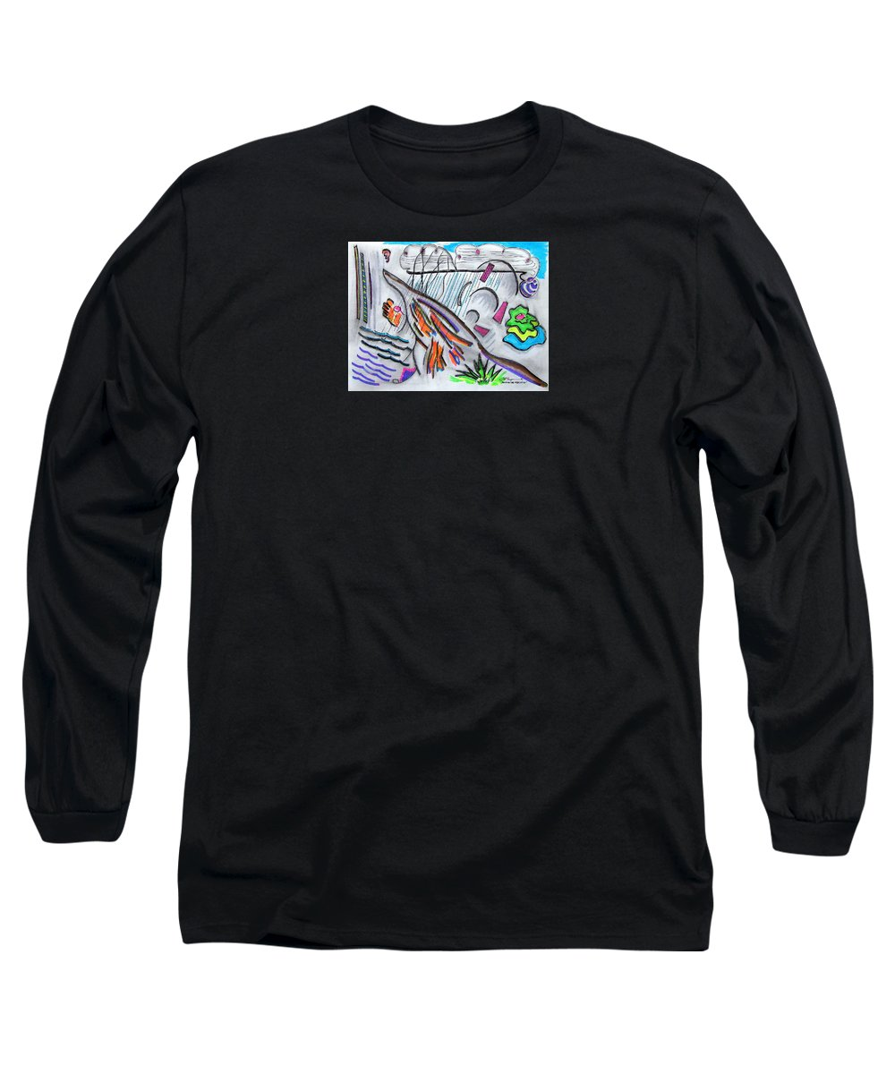 Abstract Drawing Long Sleeve T-Shirt featuring the drawing Sensing The Precipice by J R Seymour