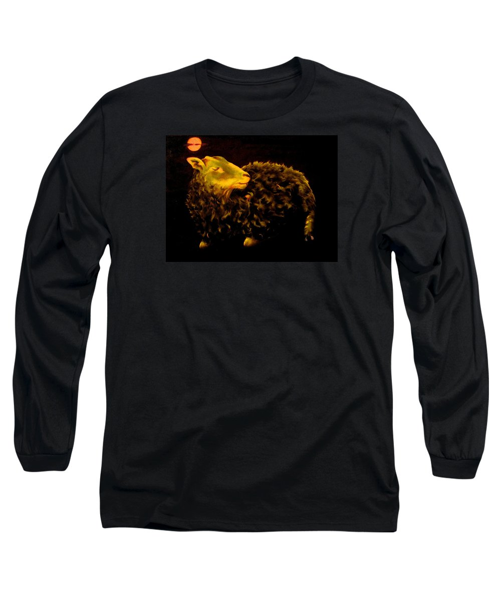 Sheep Long Sleeve T-Shirt featuring the painting Sheep At Night by Mark Cawood