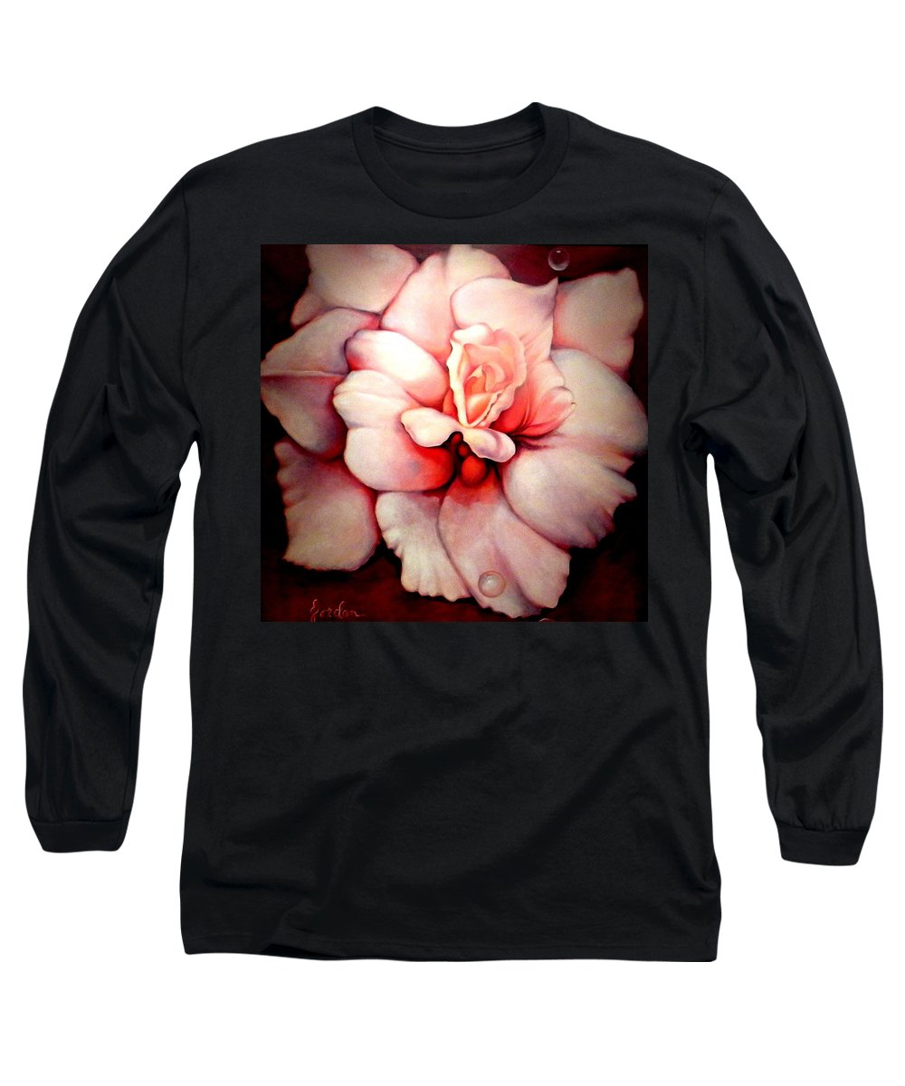 Blooms.large Rose Long Sleeve T-Shirt featuring the painting Sheer Bliss by Jordana Sands