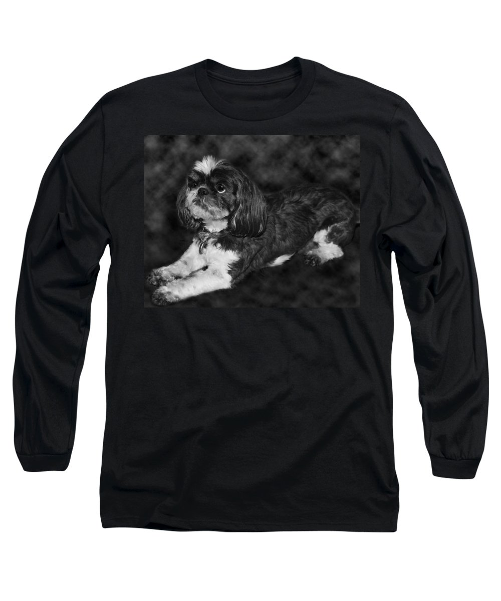 3scape Long Sleeve T-Shirt featuring the painting Shih Tzu by Adam Romanowicz