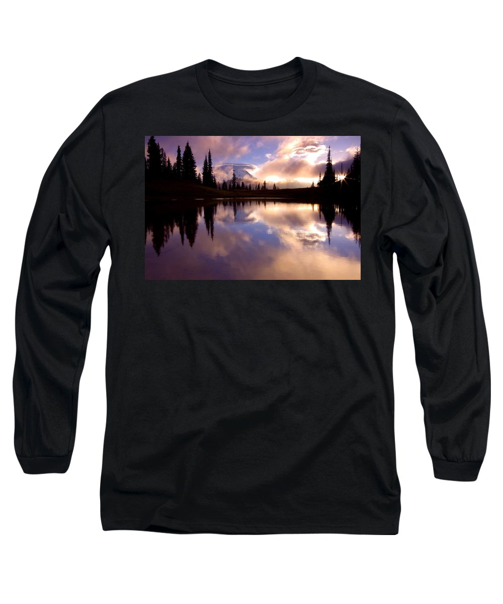 Rainier Long Sleeve T-Shirt featuring the photograph Shrouded In Clouds by Mike Dawson