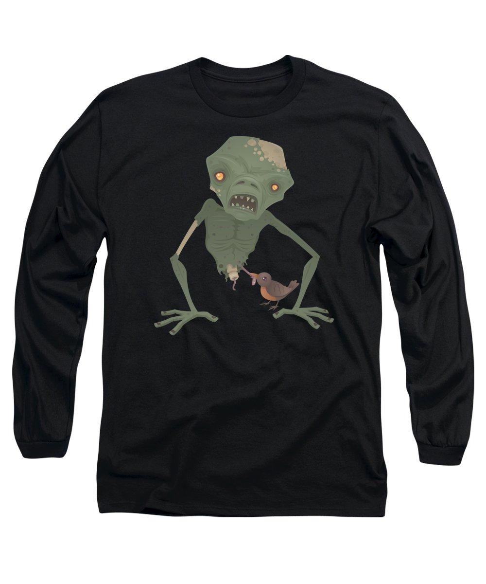 Zombie Long Sleeve T-Shirt featuring the digital art Sickly Zombie by John Schwegel