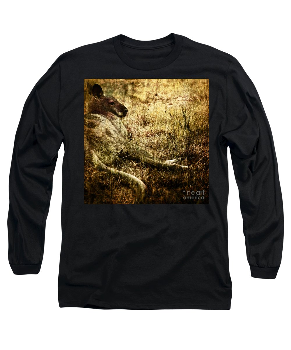 Cangaroo Long Sleeve T-Shirt featuring the photograph Siesta by Angel Ciesniarska