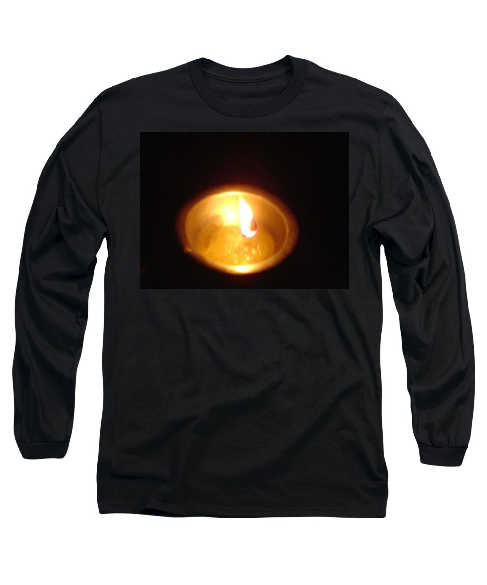 Indian Long Sleeve T-Shirt featuring the photograph Silver Lamp by Usha Shantharam