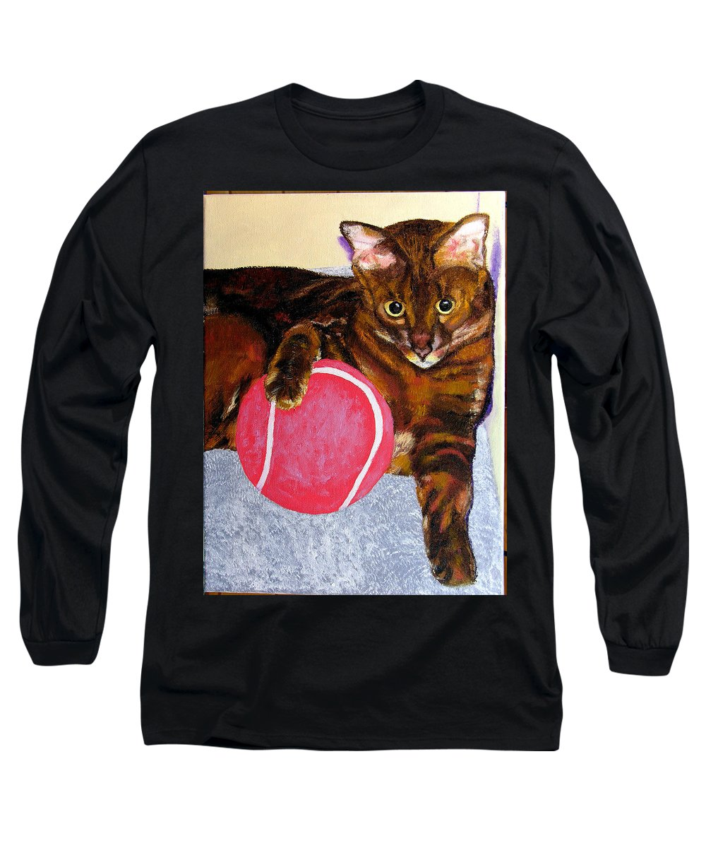 Cat Long Sleeve T-Shirt featuring the painting Simon by Stan Hamilton