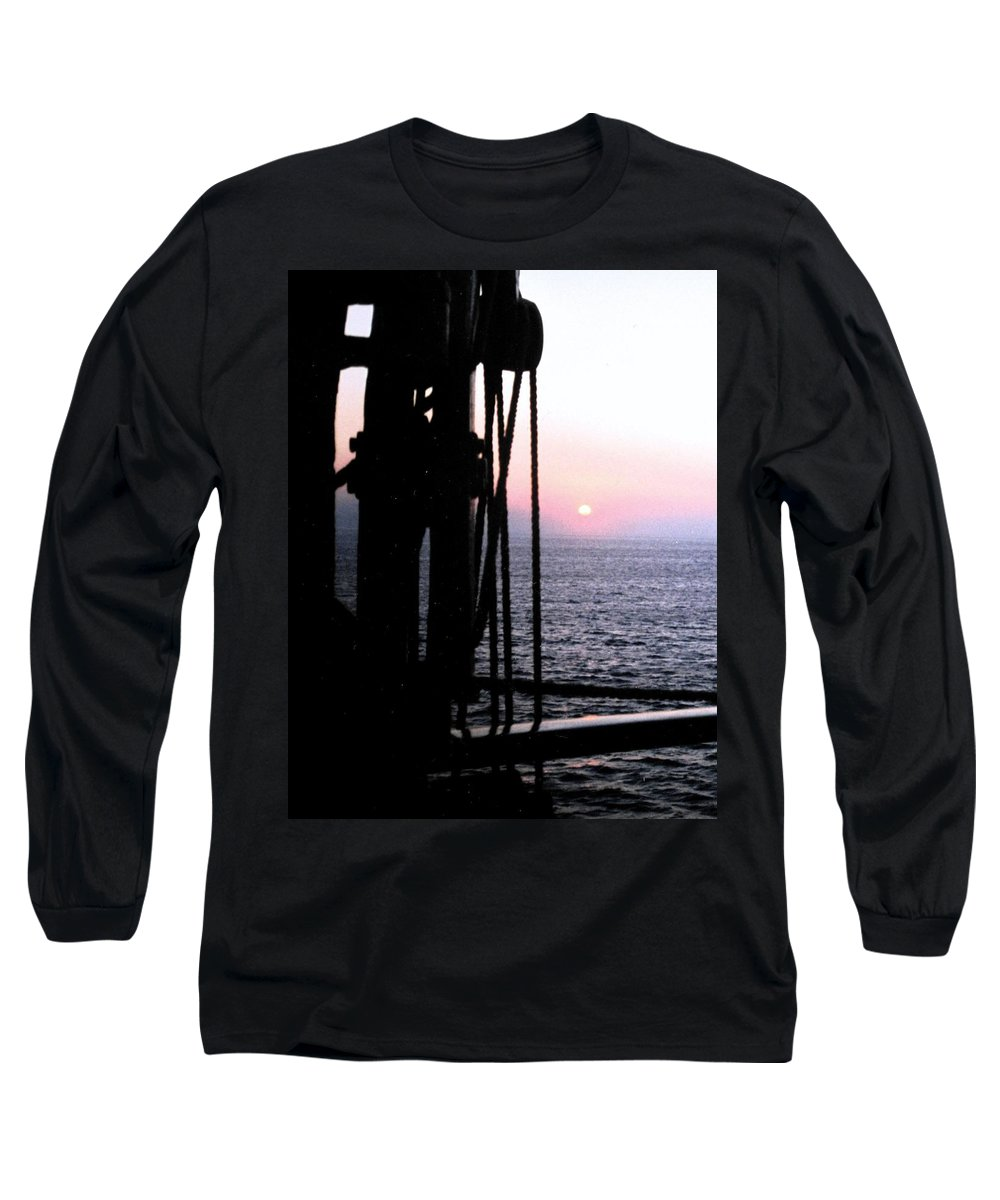 Ship Long Sleeve T-Shirt featuring the photograph Sinking Sun by Ian MacDonald