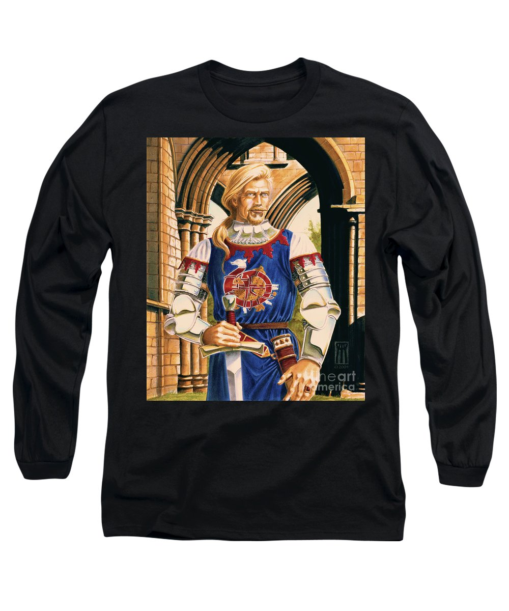 Swords Long Sleeve T-Shirt featuring the painting Sir Dinadan by Melissa A Benson