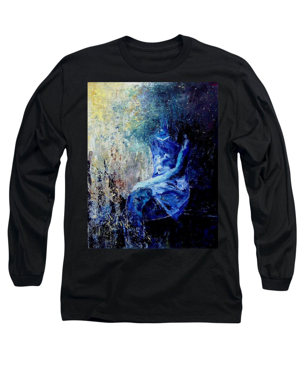 Woman Girl Fashion Long Sleeve T-Shirt featuring the painting Sitting Young Girl by Pol Ledent
