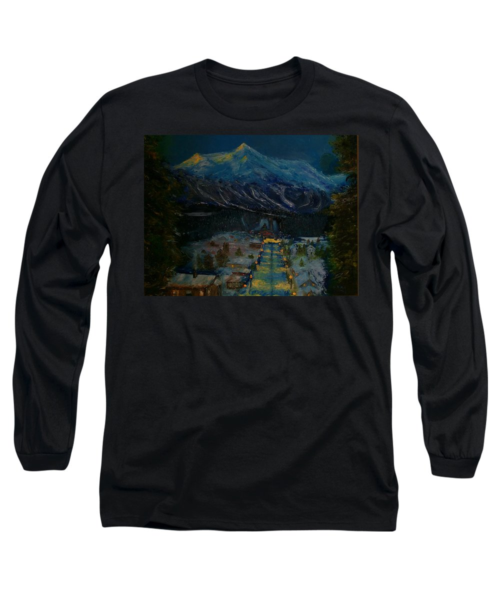 Winter Long Sleeve T-Shirt featuring the painting Ski Resort by Stephen King