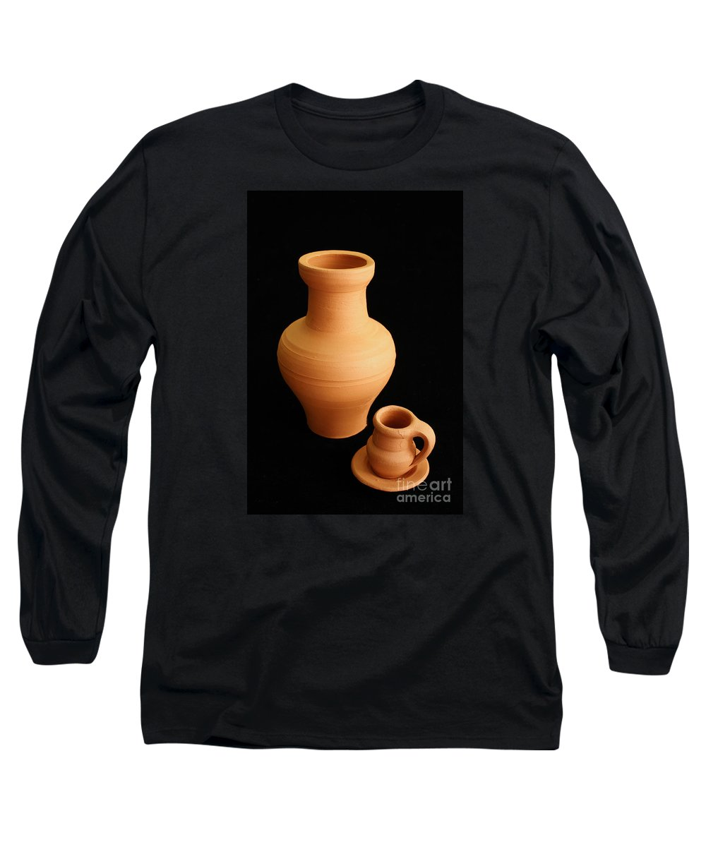 Ceramics Long Sleeve T-Shirt featuring the photograph Small Pottery Items by Gaspar Avila