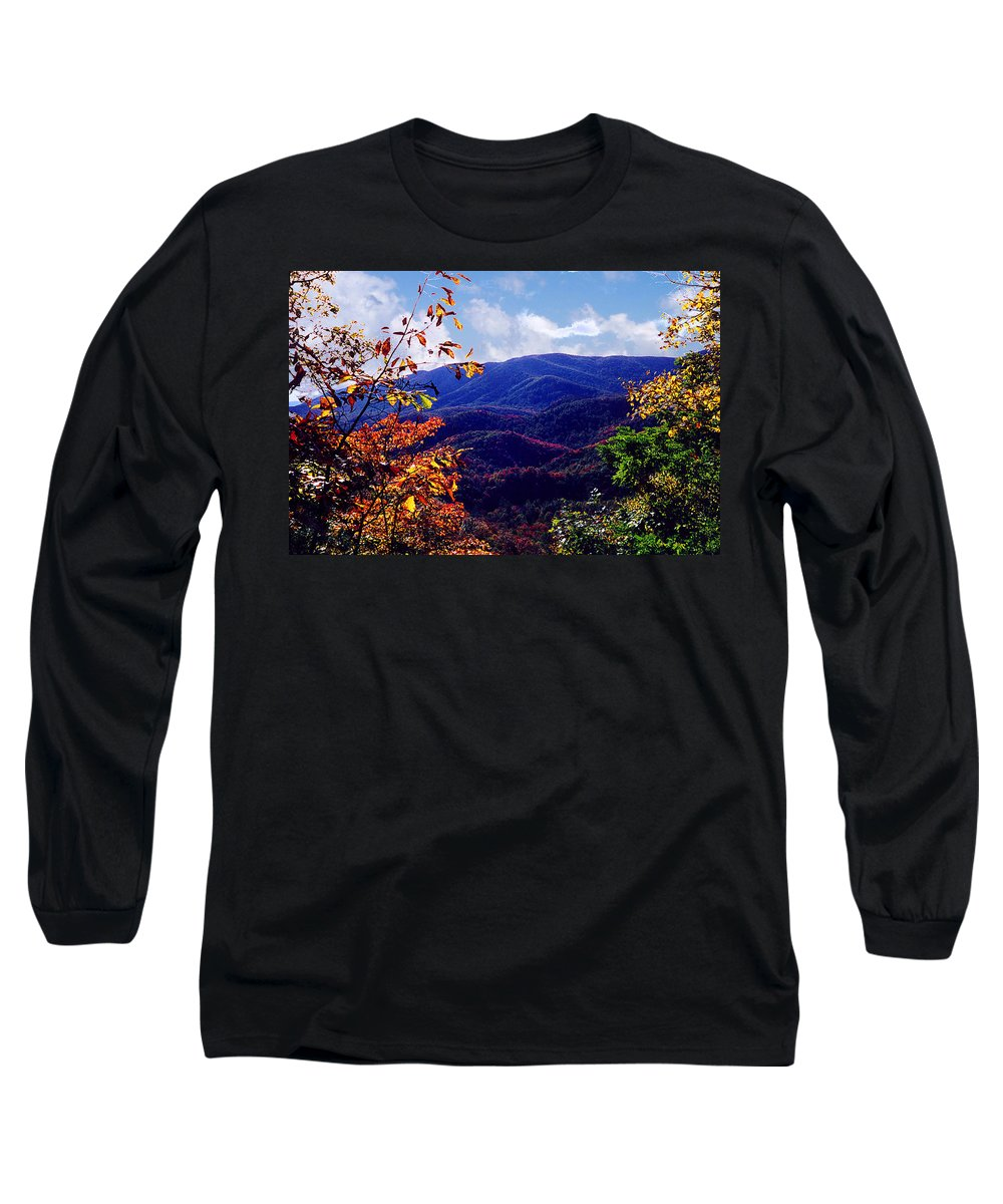 Mountain Long Sleeve T-Shirt featuring the photograph Smoky Mountain Autumn View by Nancy Mueller
