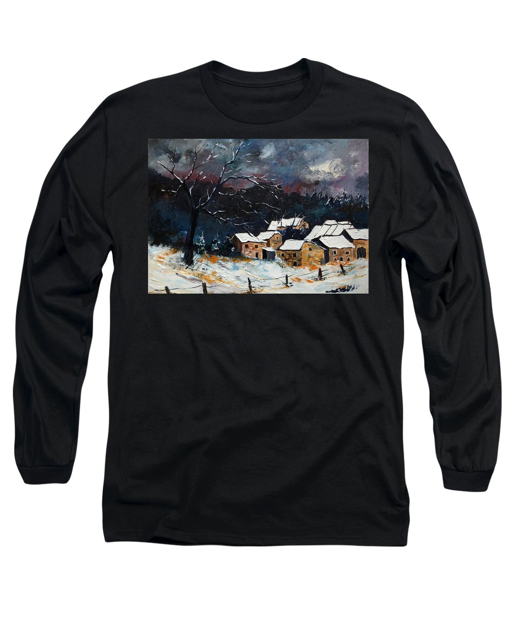 Snow Long Sleeve T-Shirt featuring the painting Snow 57 by Pol Ledent