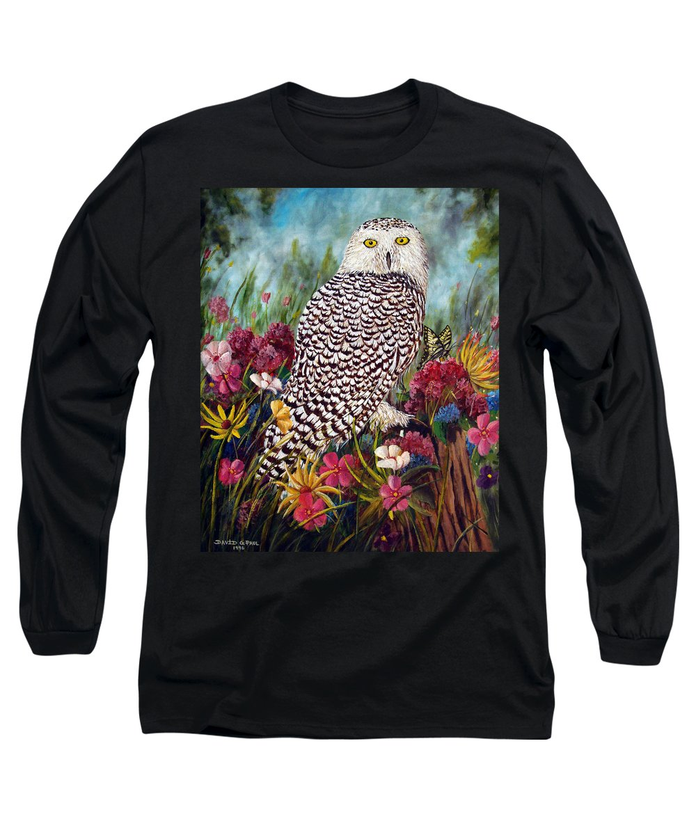 Owl Long Sleeve T-Shirt featuring the painting Snowy Owl by David G Paul