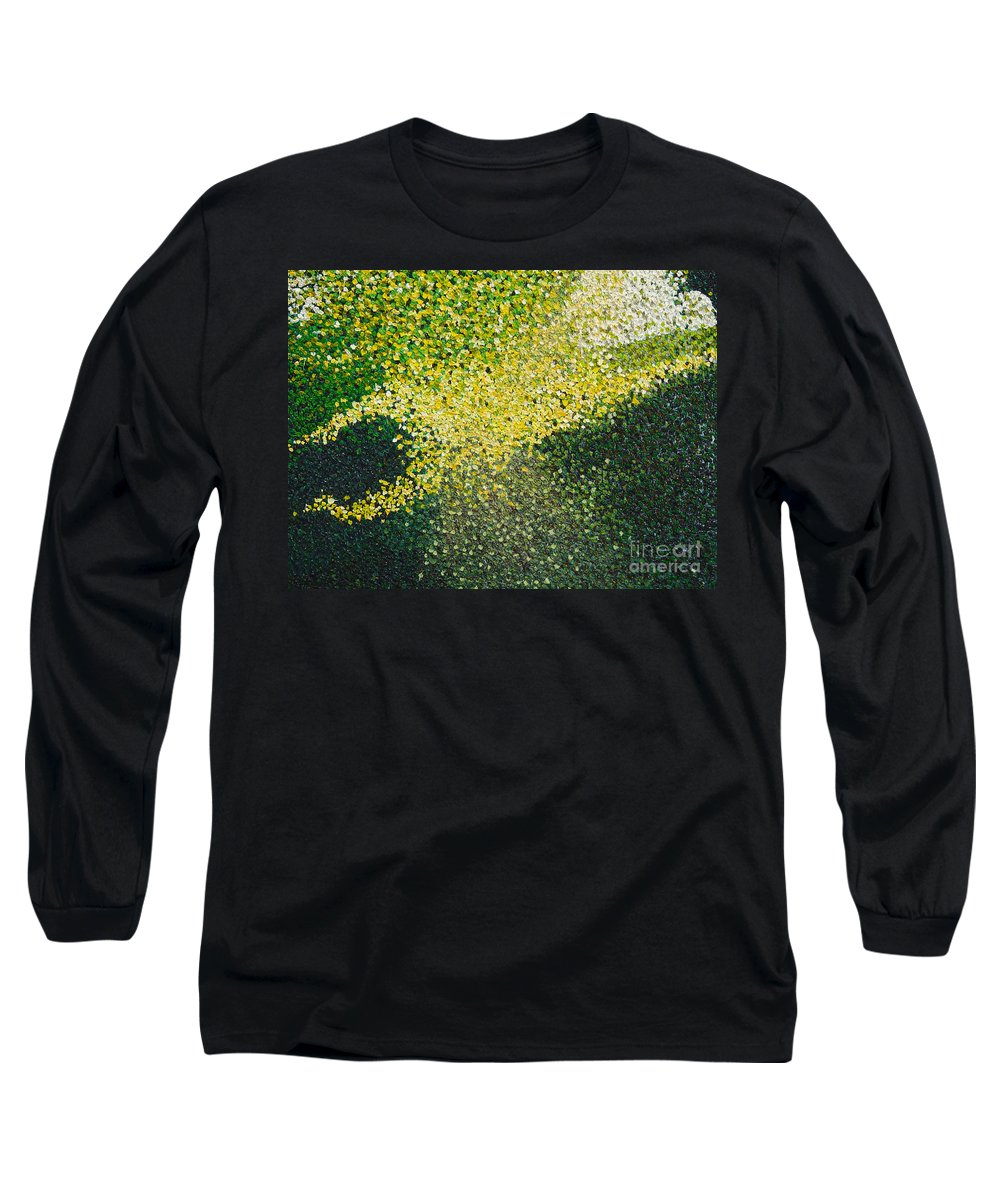 Abstract Long Sleeve T-Shirt featuring the painting Soft Green Light by Dean Triolo