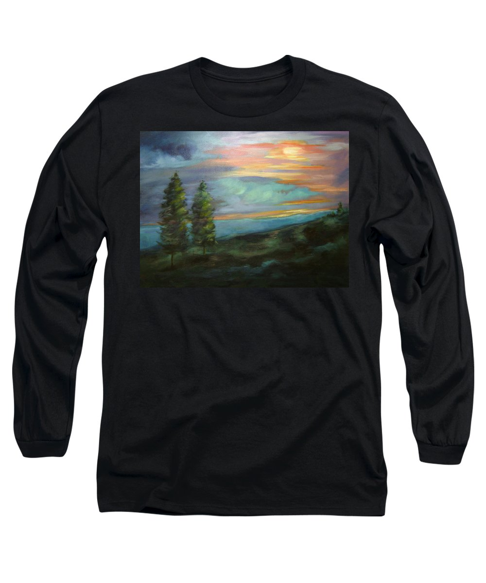 Landscape Long Sleeve T-Shirt featuring the painting Soledad by Ginger Concepcion