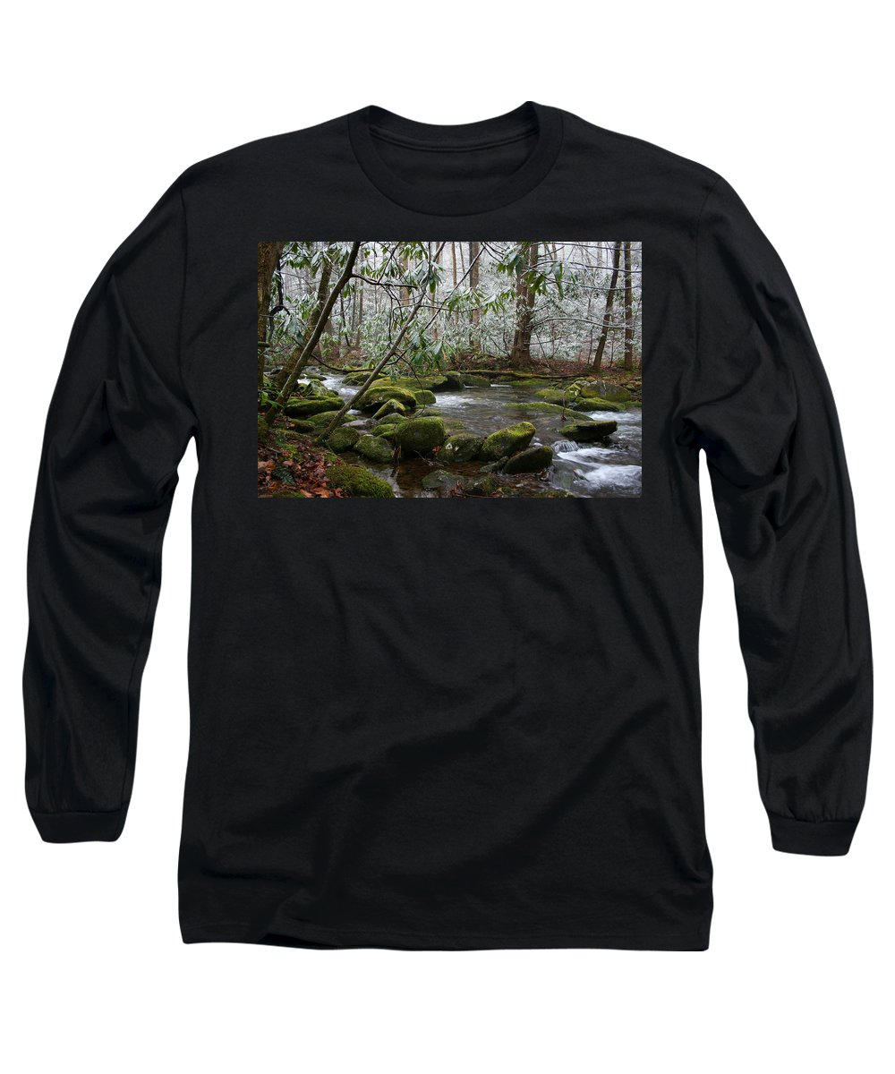 River Stream Creek Water Nature Rock Rocks Tree Trees Winter Snow Peaceful White Green Flowing Flow Long Sleeve T-Shirt featuring the photograph Soothing by Andrei Shliakhau
