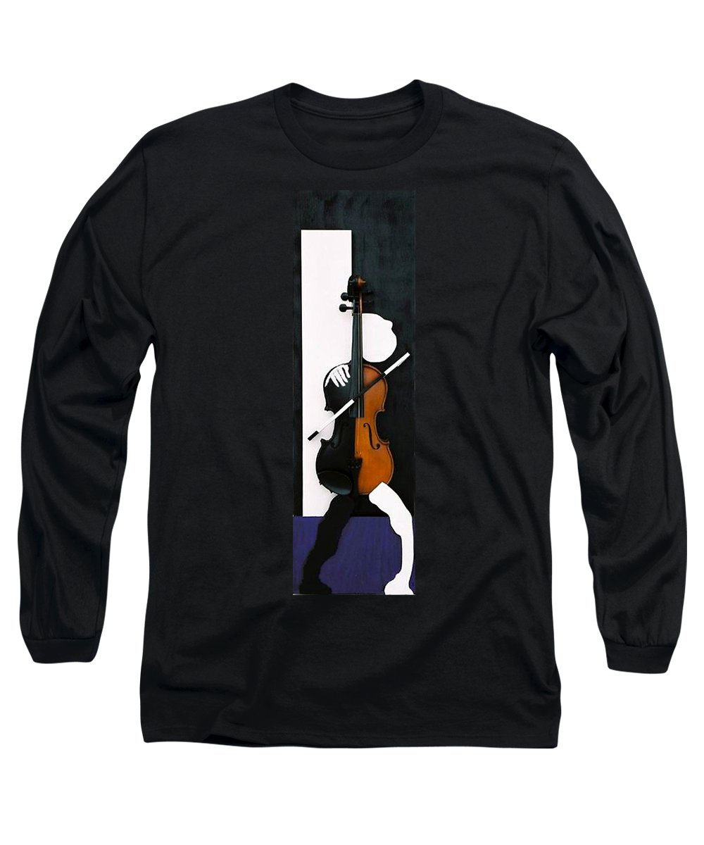 Violin Long Sleeve T-Shirt featuring the sculpture Soul Of Music by Steve Karol