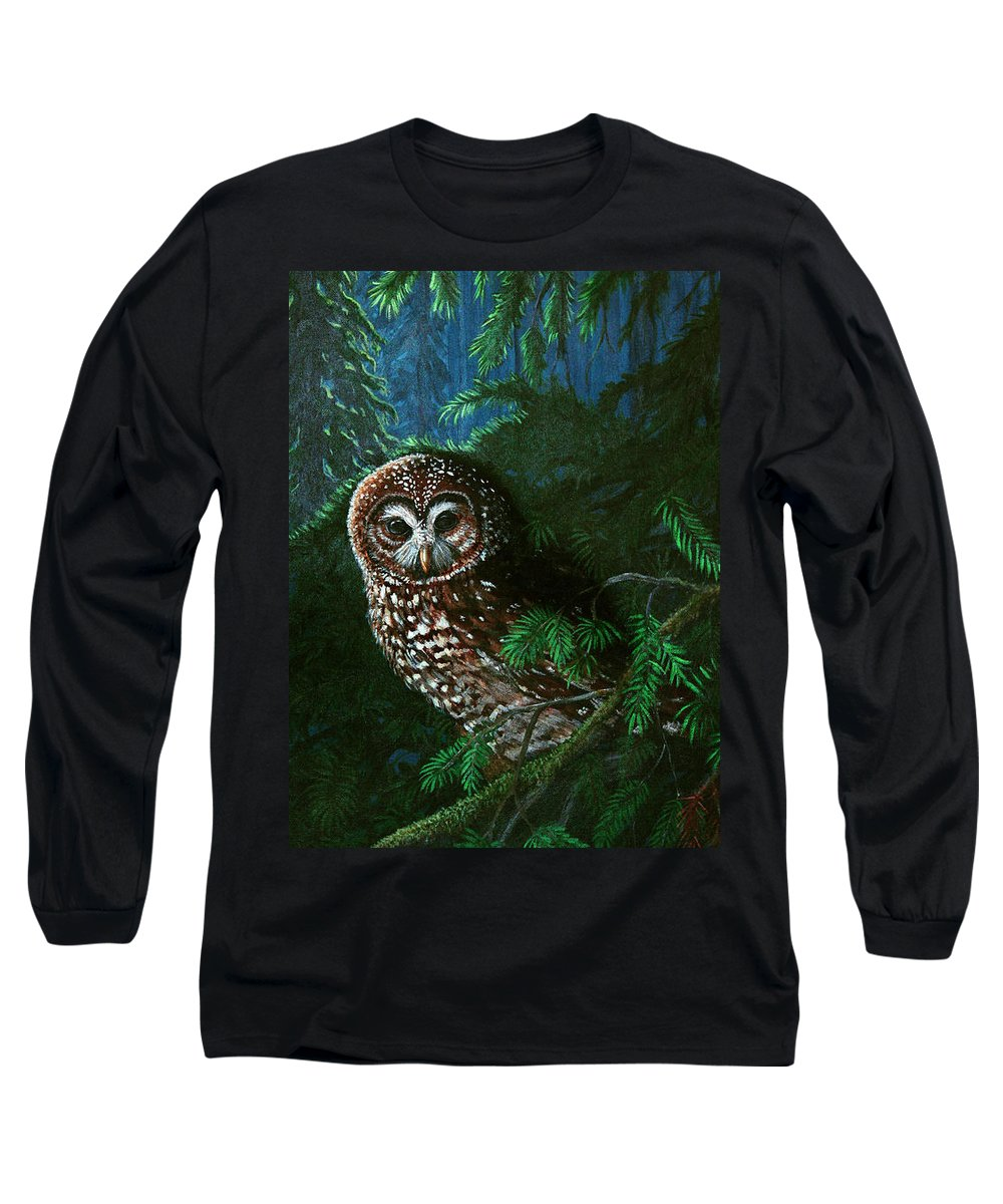 Owl Long Sleeve T-Shirt featuring the painting Spotted Owl In Ancient Forest by Nick Gustafson