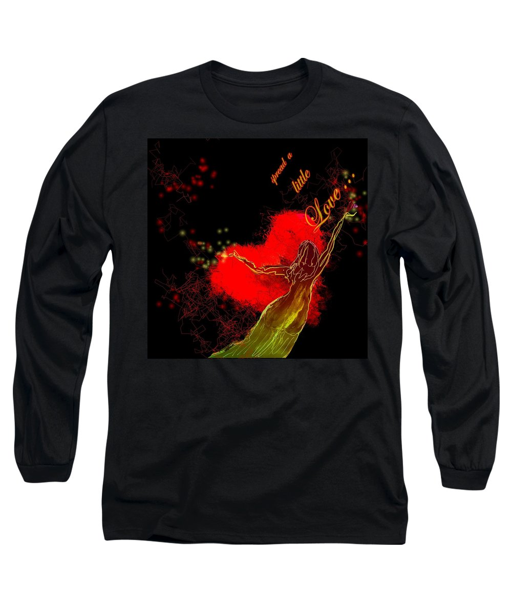 Love Long Sleeve T-Shirt featuring the painting Spread A Little Love by Miki De Goodaboom