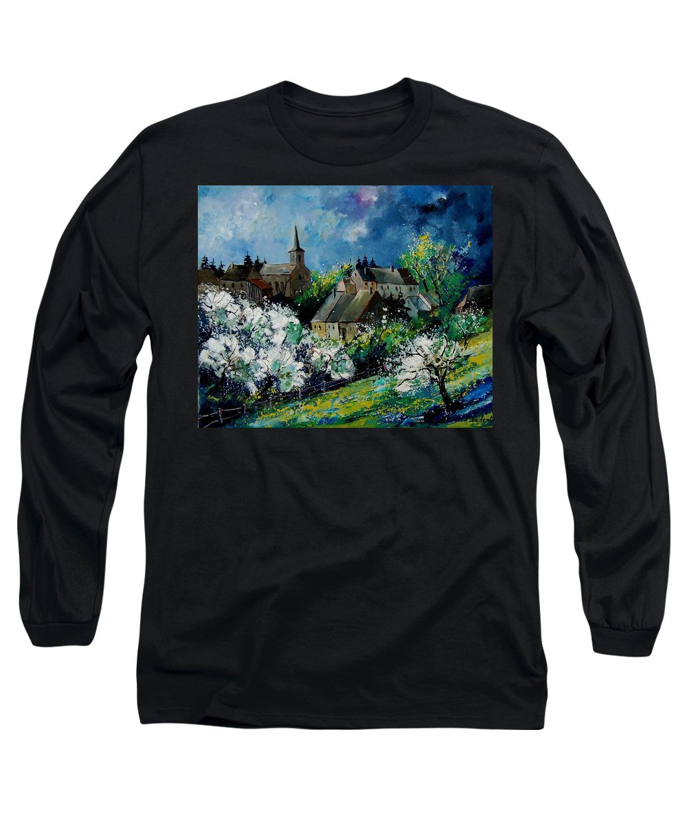 Spring Long Sleeve T-Shirt featuring the painting Spring In Fays Famenne by Pol Ledent