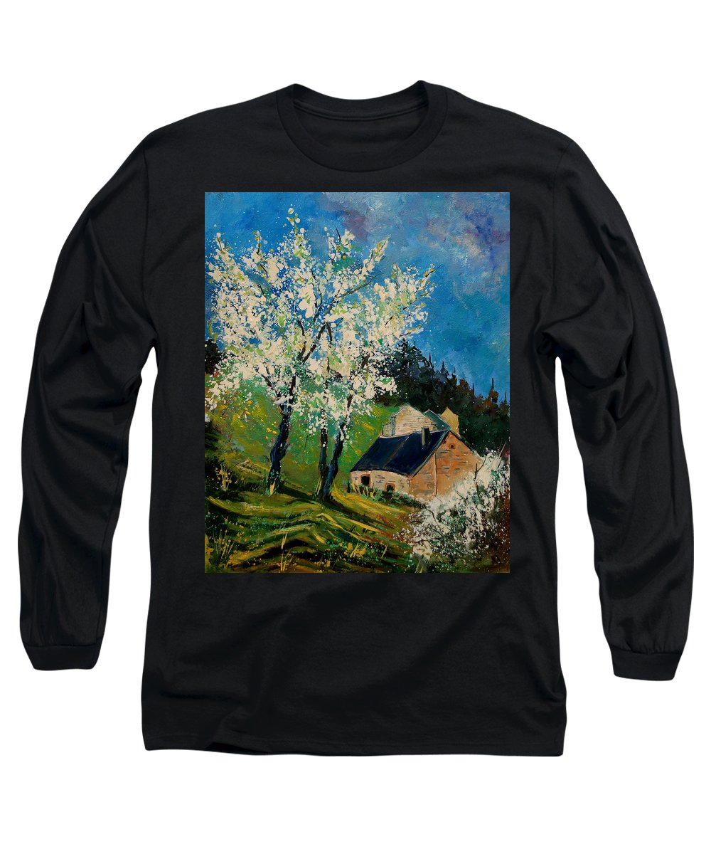 Spring Long Sleeve T-Shirt featuring the painting Spring In Hierges by Pol Ledent