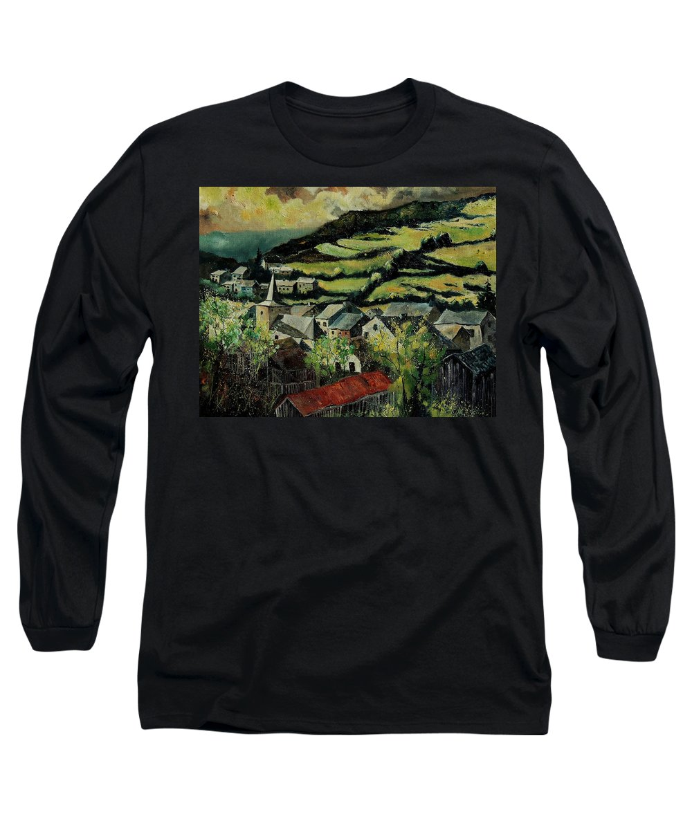 Spring Long Sleeve T-Shirt featuring the painting Spring In Vresse Ardennes Belgium by Pol Ledent
