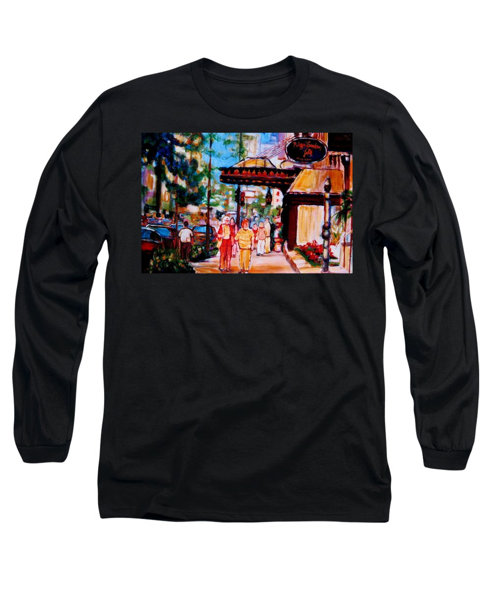 Montreal Streetscenes Long Sleeve T-Shirt featuring the painting Springtime At The Ritz by Carole Spandau
