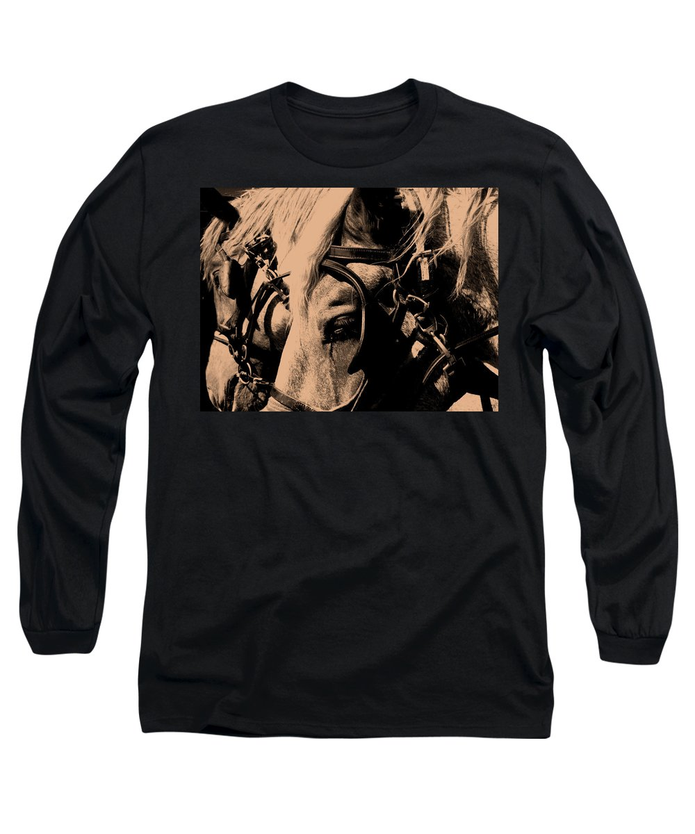 Horse Long Sleeve T-Shirt featuring the photograph Stage Coach Horses by Wayne Potrafka