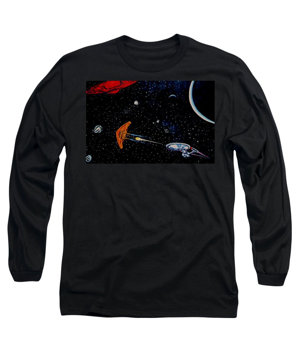 Startrel.scoemce Foxopm.s[ace.[;amets.stars Long Sleeve T-Shirt featuring the painting Startrek by Stan Hamilton