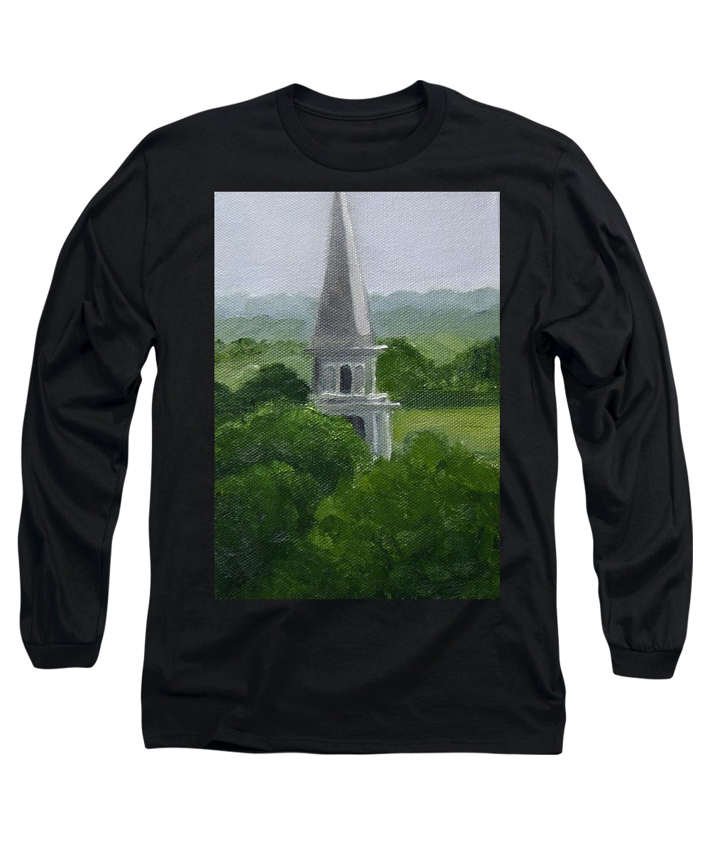 Steeple Long Sleeve T-Shirt featuring the painting Steeple by Toni Berry