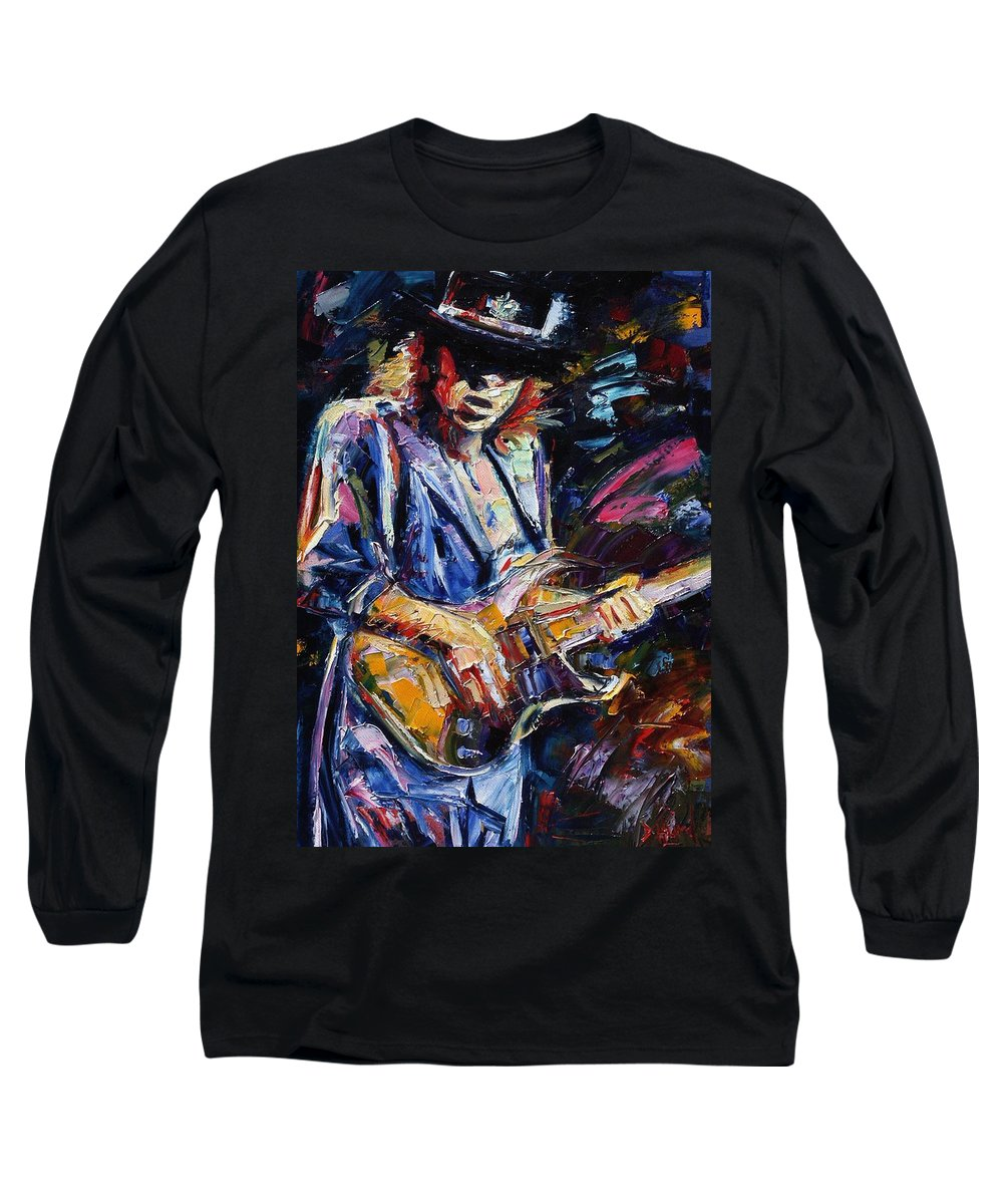 Stevie Ray Vaughan Painting Long Sleeve T-Shirt featuring the painting Stevie Ray Vaughan by Debra Hurd