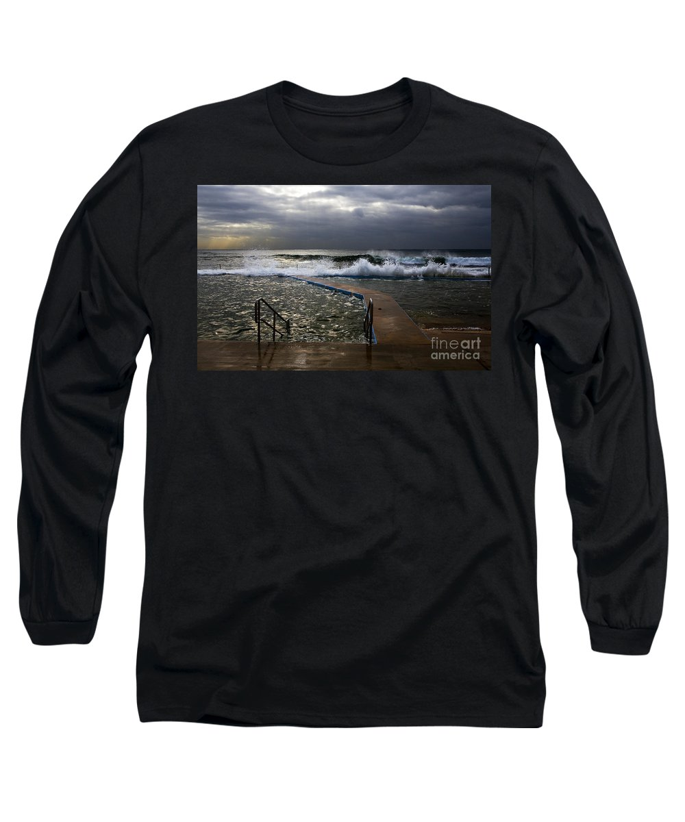 Storm Clouds Collaroy Beach Australia Long Sleeve T-Shirt featuring the photograph Stormy Morning At Collaroy by Sheila Smart Fine Art Photography