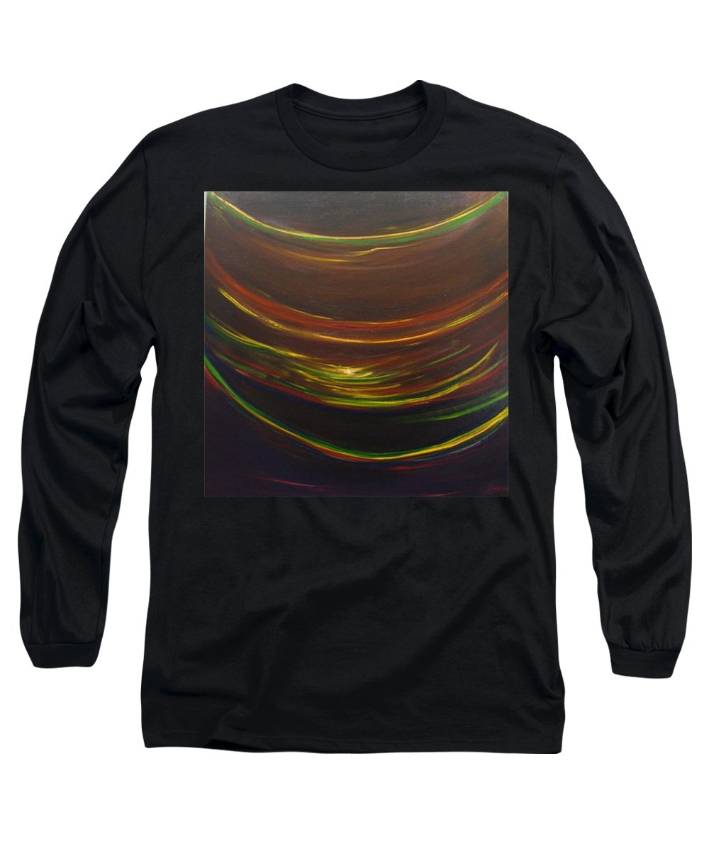 Rainbow Red Yellow Obama Long Sleeve T-Shirt featuring the painting Strata Surf by Jack Diamond