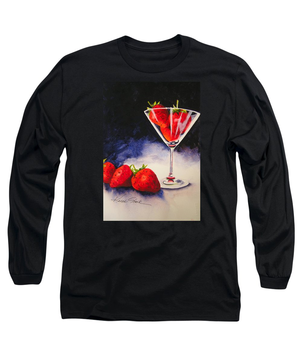 Strawberry Long Sleeve T-Shirt featuring the painting Strawberrytini by Karen Stark