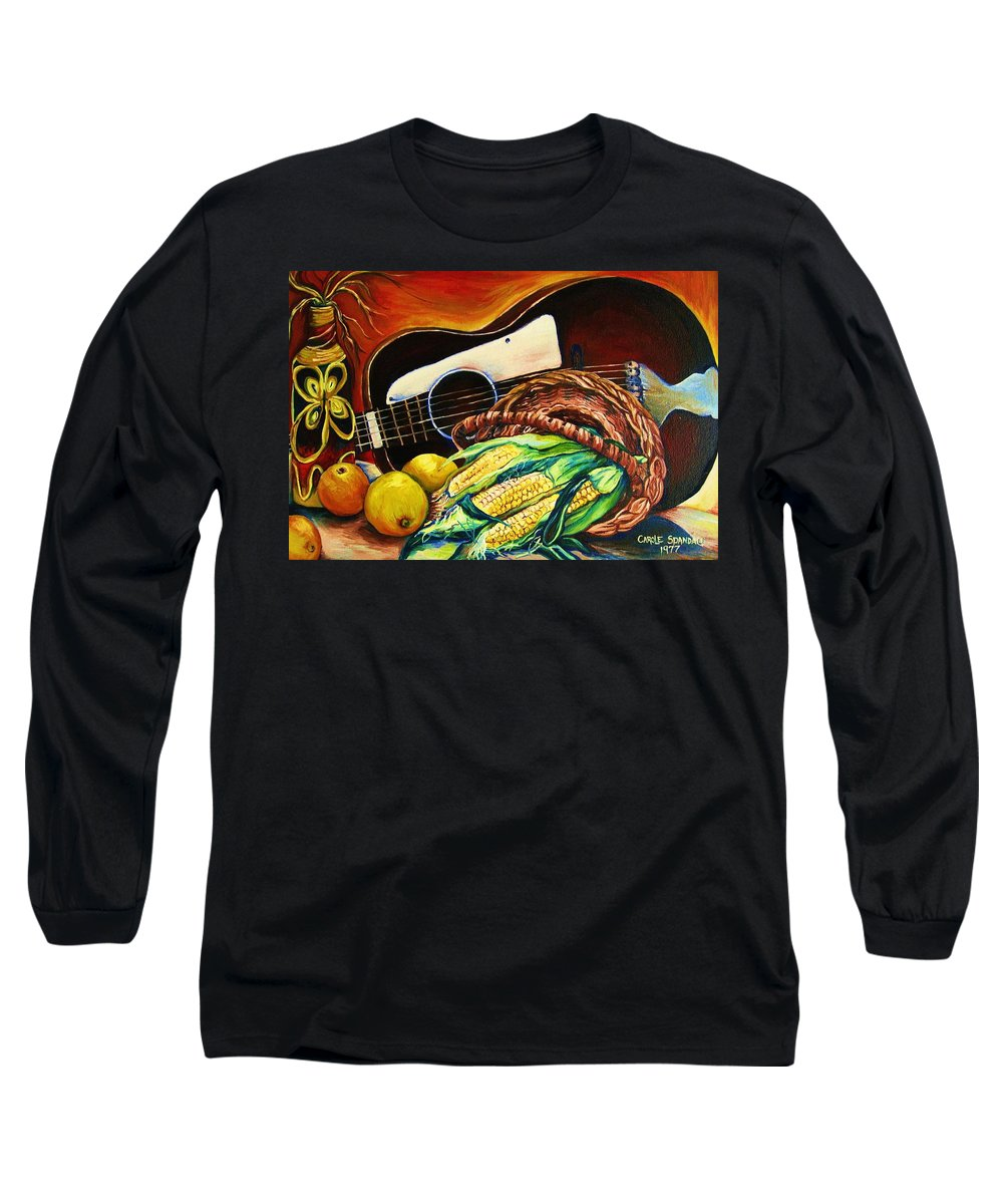 Country Life Long Sleeve T-Shirt featuring the painting Strings Attached by Carole Spandau