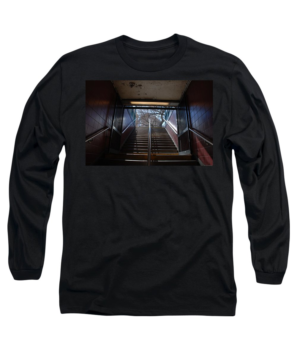 Pop Art Long Sleeve T-Shirt featuring the photograph Subway Stairs To Freedom by Rob Hans