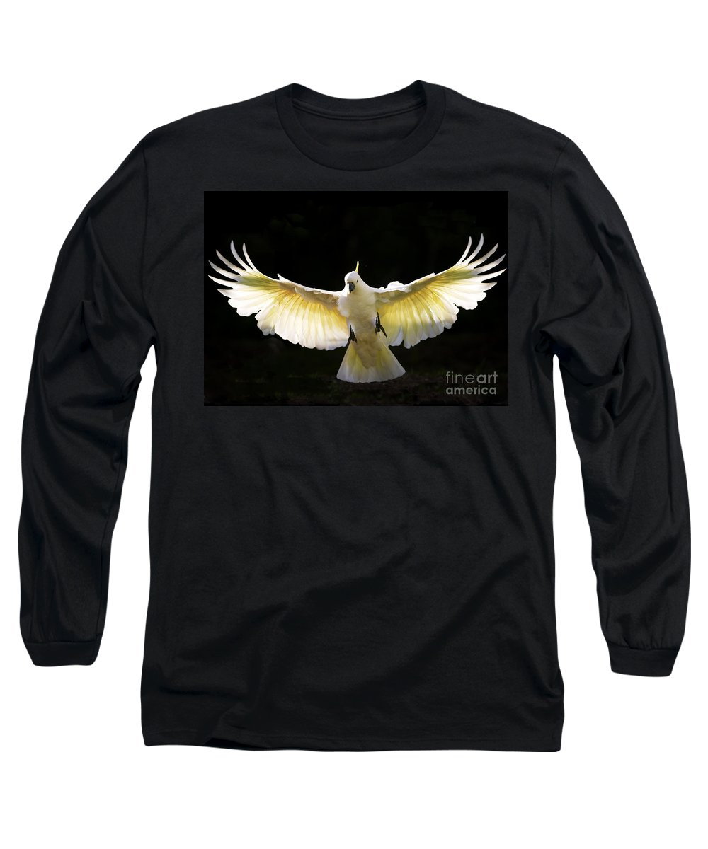 Sulphur Crested Cockatoo Australian Wildlife Long Sleeve T-Shirt featuring the photograph Sulphur Crested Cockatoo In Flight by Avalon Fine Art Photography